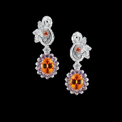 Mandarin Garnet Diamond Earring