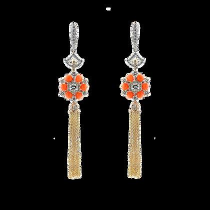Coral Tassel Earring