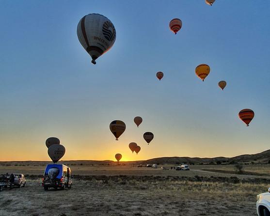 Hot-air ballooning in Cappadocia.