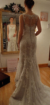 Lace fishtail Justin Alexander weddng dress