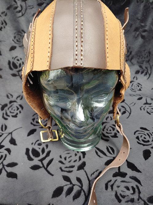 Winged Steampunk Aviator Helmet (Two Tone Brown)