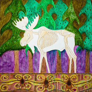 Ghost Moose - 36_x 36_, acrylic on canva