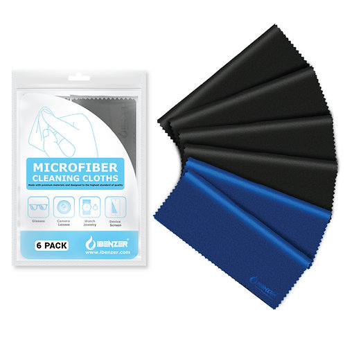 Microfiber Cleaning Cloth 4 Black and 2 Blue (Small)