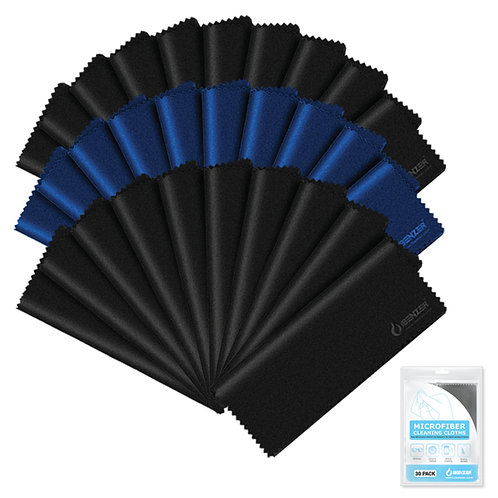 Microfiber Cleaning Cloth 20 Black and 10 Blue (Small)