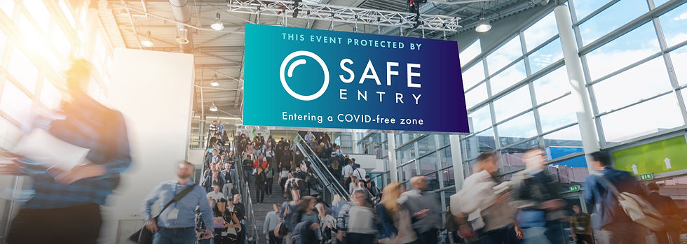 Conference and Trade Show Event Space with COVID-free zone sign. On-site COVID testing for events by Safe Entry.