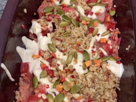 Rhubarb Vanilla Bean Crumble with Cashew Cream