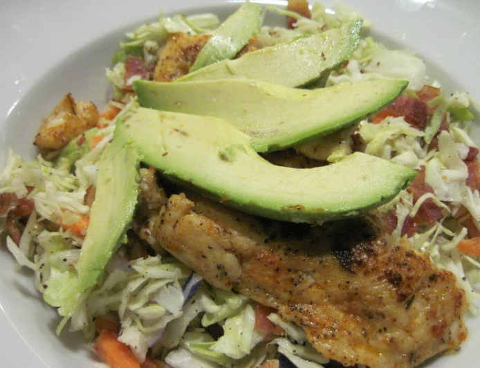 Cajun Chicken with Bacon Slaw made with Epicures Cajun Oven Fry Seasoning