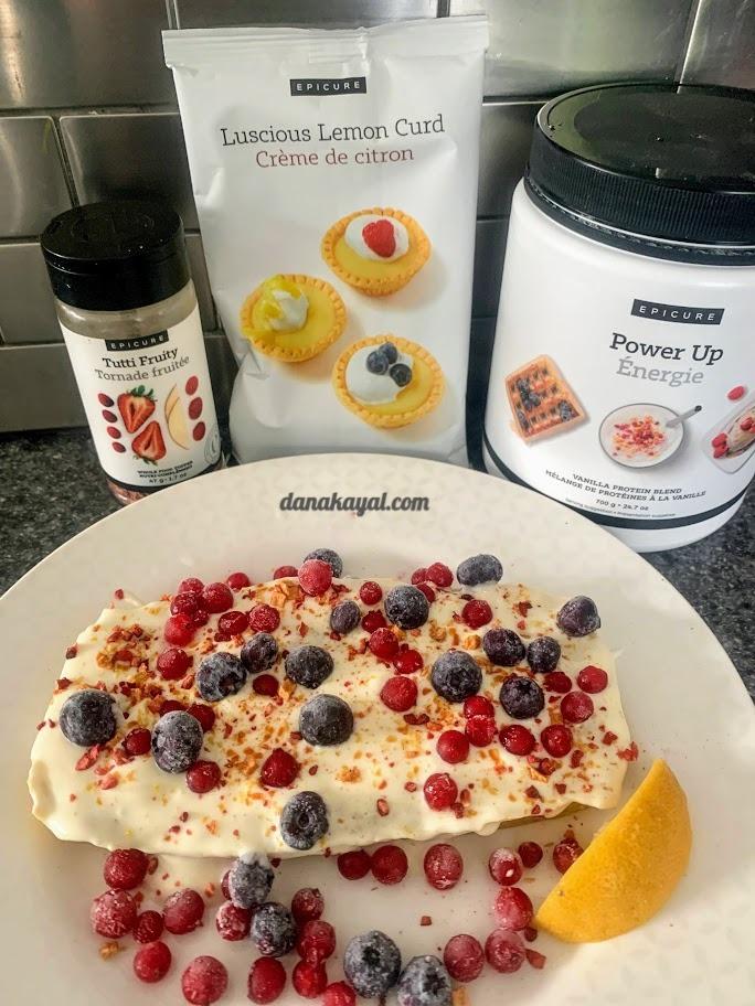 Epicure Luscious Lemon Curd, Epicure power up, Protein, breakfast ideas, Epicure Tutti Fruity
