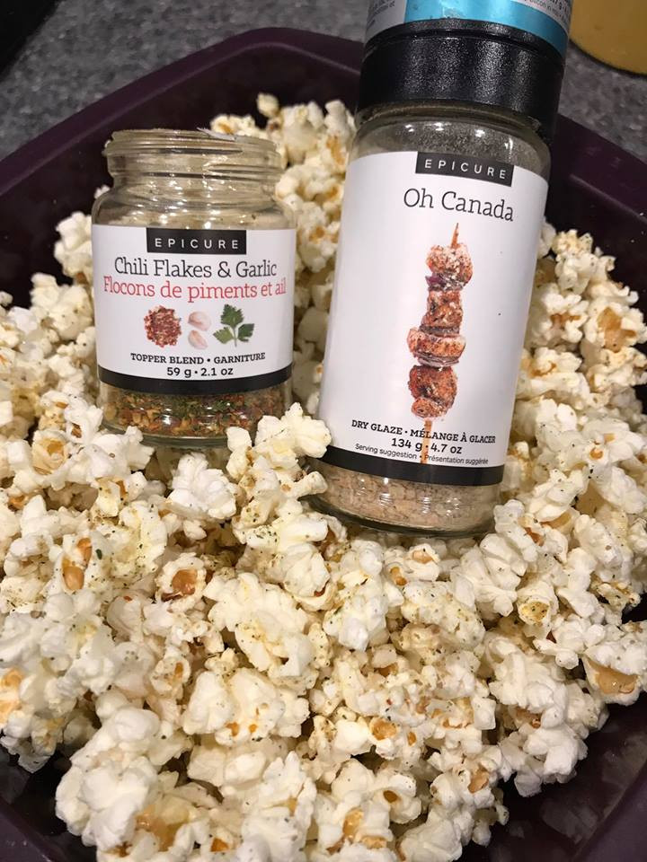 Spicy Maple Garlic Popcorn made with Epicure's Chili Flakes & Garlic and Epicure's Oh Canada
