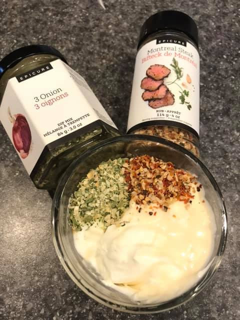 Dip made with Epicure Montreal steak spice and Epicure 3 onion Dip mix