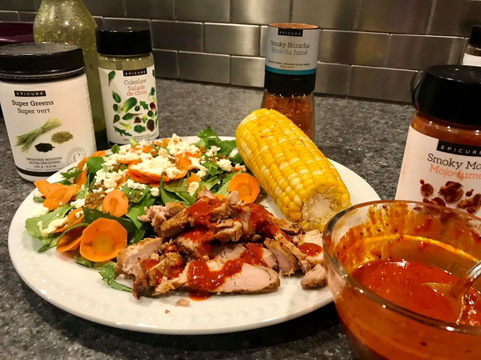 Epicure's Smoky Mojo drizzled on chicken and served with Sriracha dusted Corn