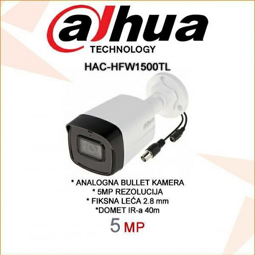 5MP HDCVI IR Bullet Camera, IR 40m, IP67, 3.6mm