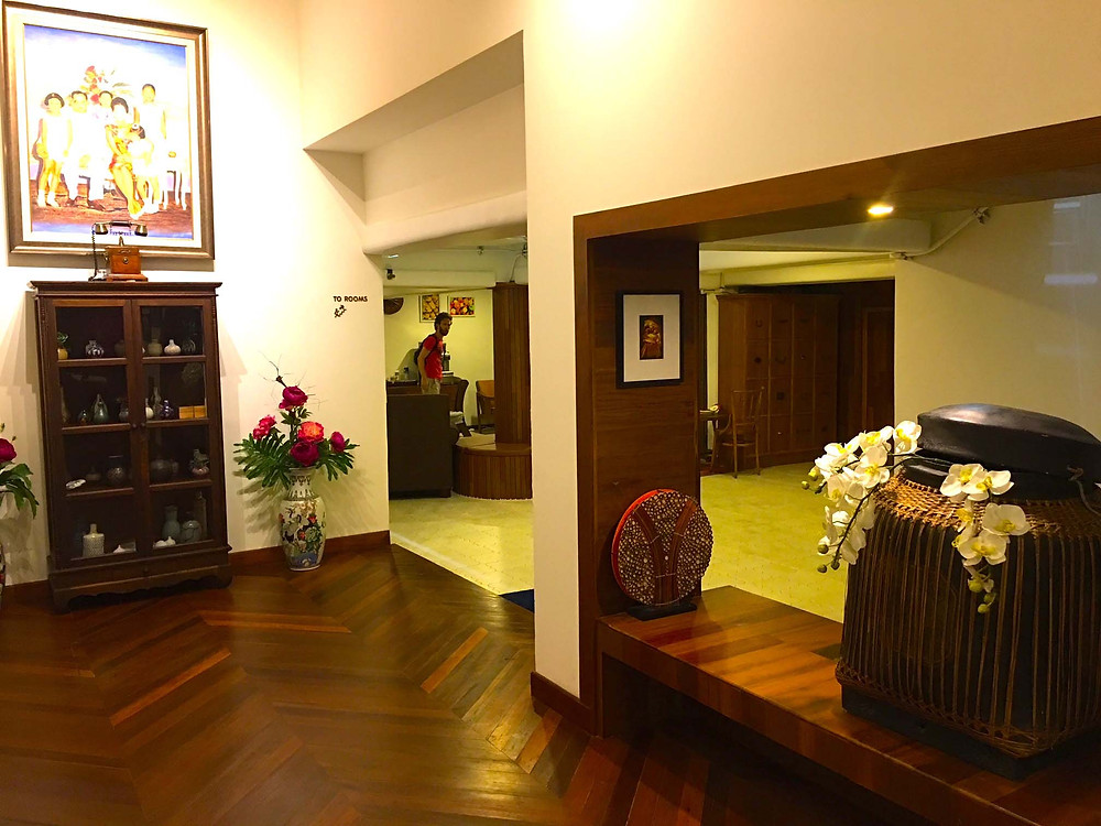 Corridor and view to communal area at The Tippanet Hotel