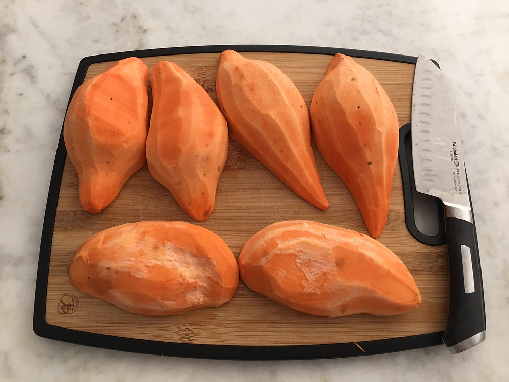 Peel and chop sweet potatoes evenly