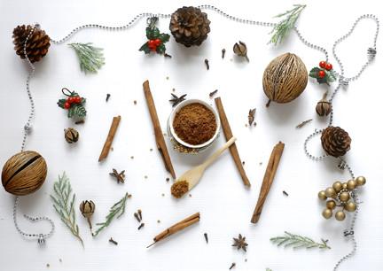 Cinnamon, brown sugar, cloves, nutmeg