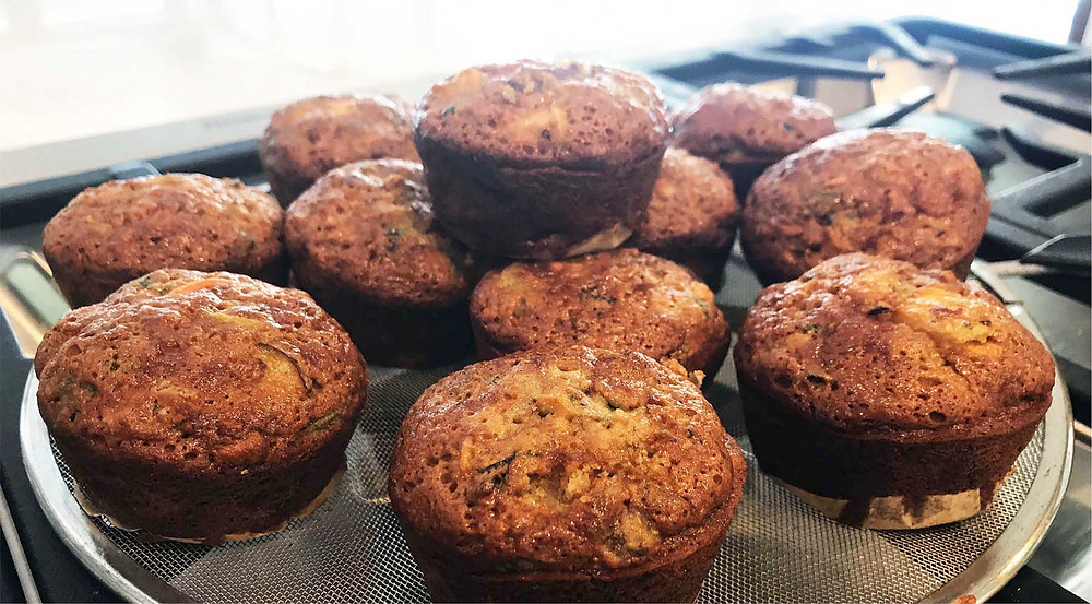 The finished muffins are moist, packed with flavour