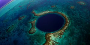 The Great Blue Hole, Belize - aerial view