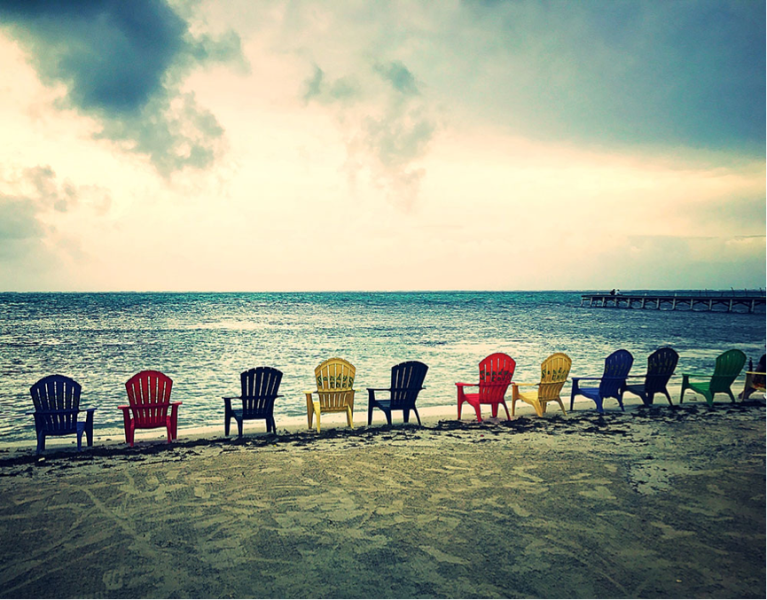 Picturesque deck chairs on the beach in San Pedro