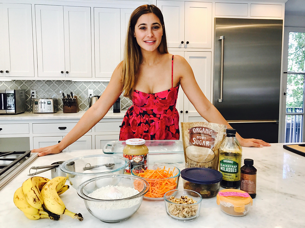 All the ingredients needed for banana carrot loaf