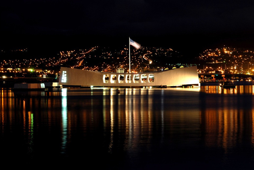 Pearl Harbour and USS Arizona by Night, Oahu