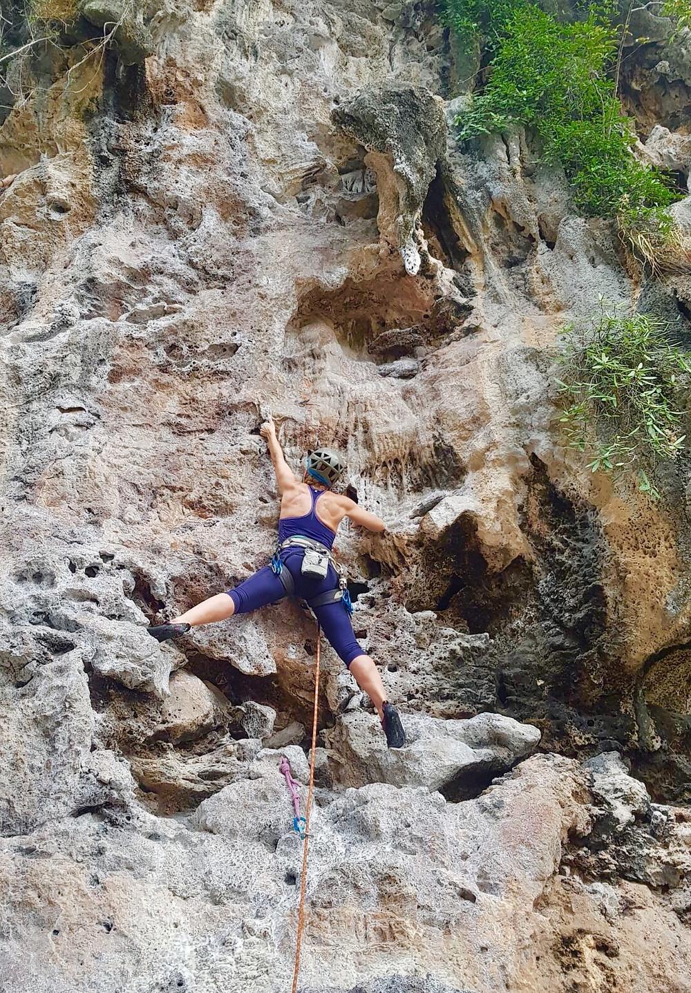 Nikki Busuttil lead climbing East Railay Krabi Thailand