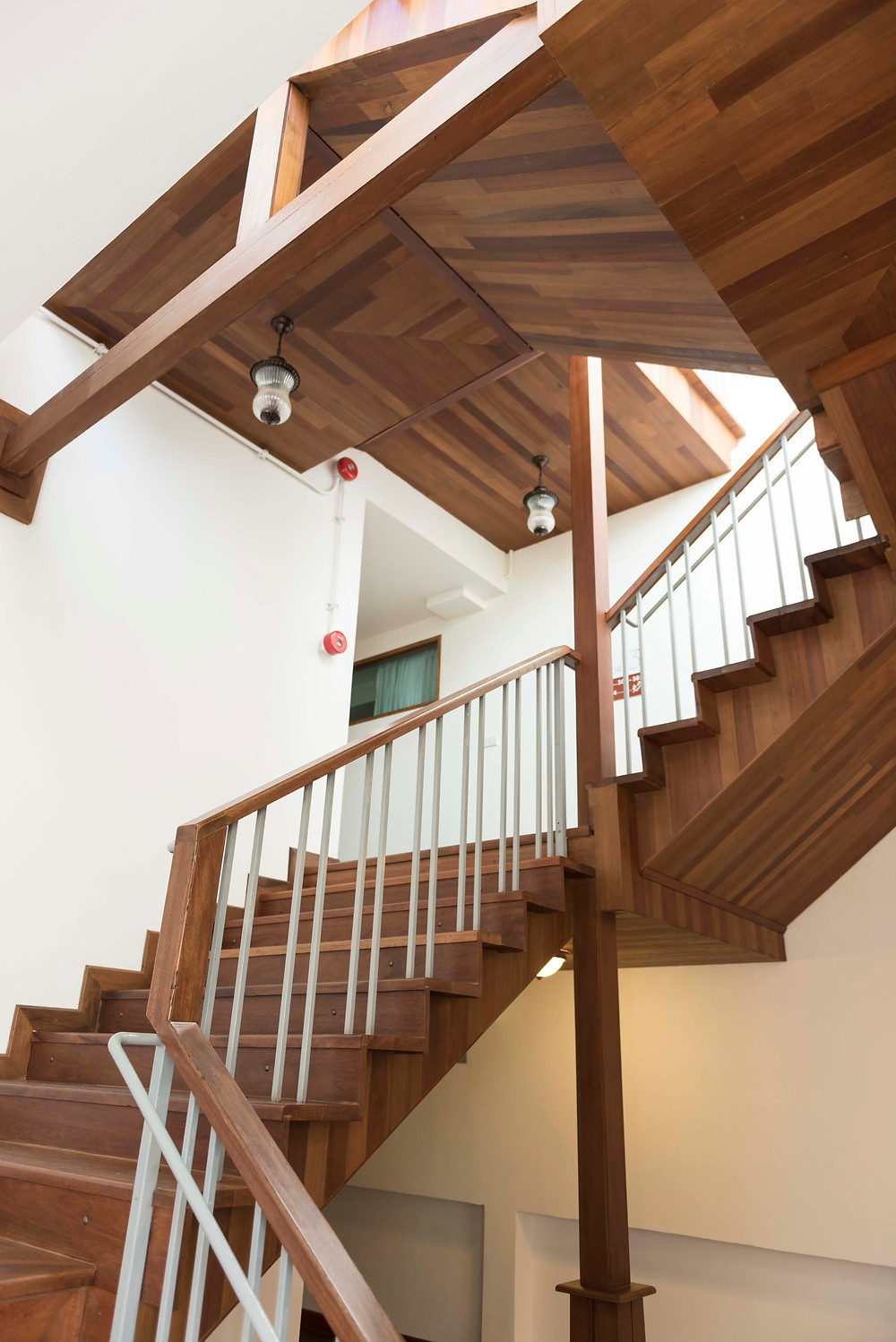 View of one of interior architecture of the staircase at The Tippanet Hotel