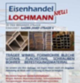 Eisenhandel Träger Winkel Formrohre Bleche U-Stahl Flachstahl Schrauen Bohrer Befesigungmaterial Lochmann