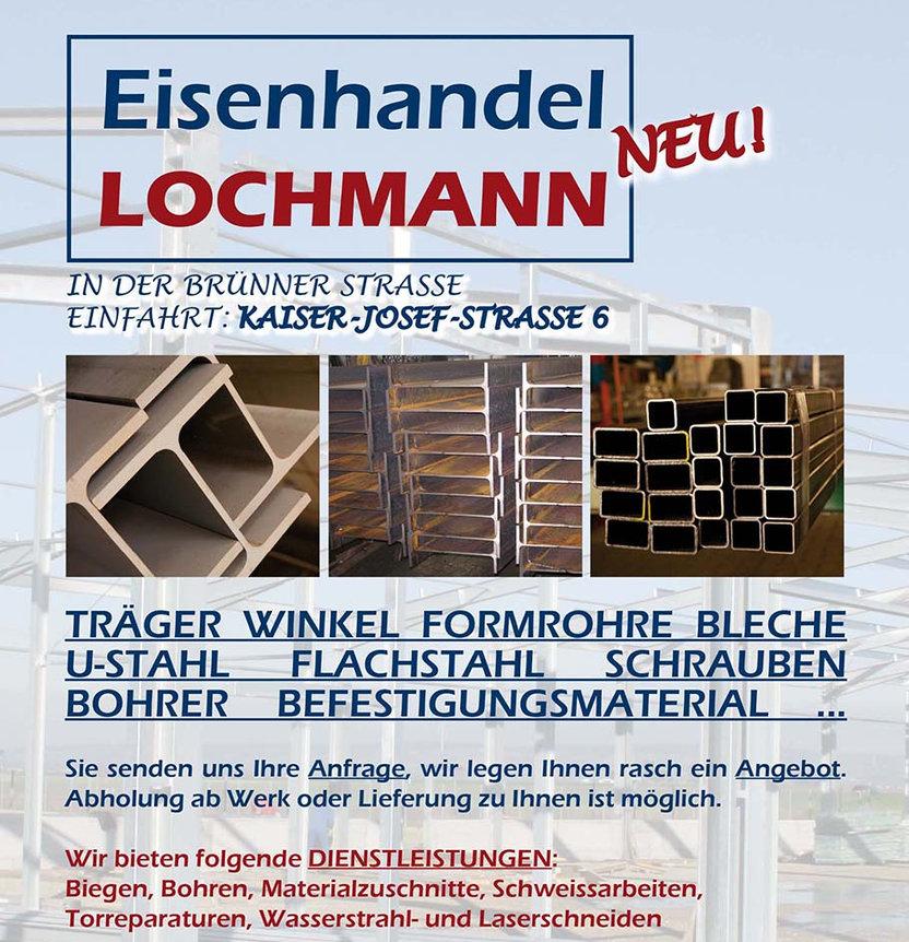 Eisenhandel Träger Winkel Formrohre Bleche U-Stahl Flachstahl Schrauben Bohrer Befestigungsmaterial Lochmann