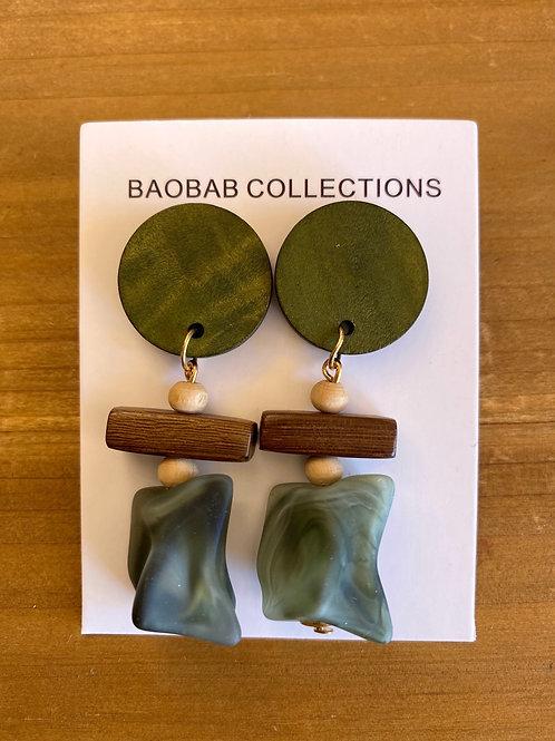 Resin and Wood Dangles Green/grey