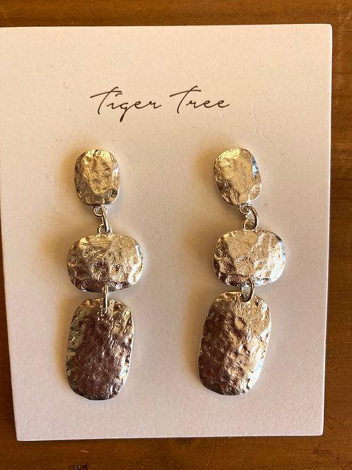 Textured 3 drop Earring Silver