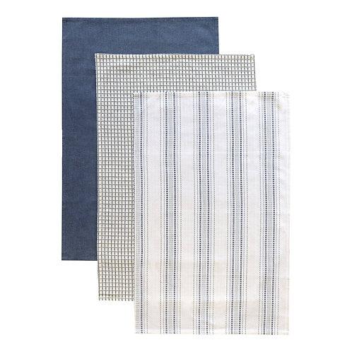 Tea Towel Set 4 Woven Blue