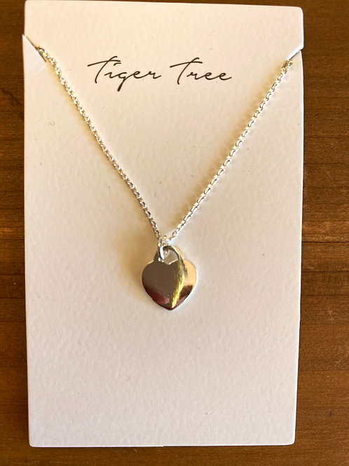 Heart and Chain Necklace Silver