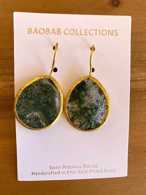 Black/grey small hook Earrings Gold