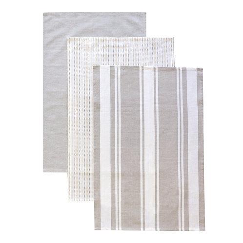 Tea Towel Set 3 Woven Natural