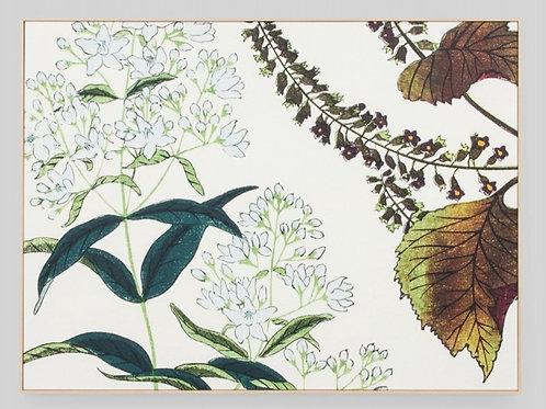 Wildflower Woodblock Framed Canvas