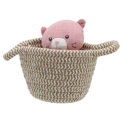 Wilberry Pink Cat in Basket