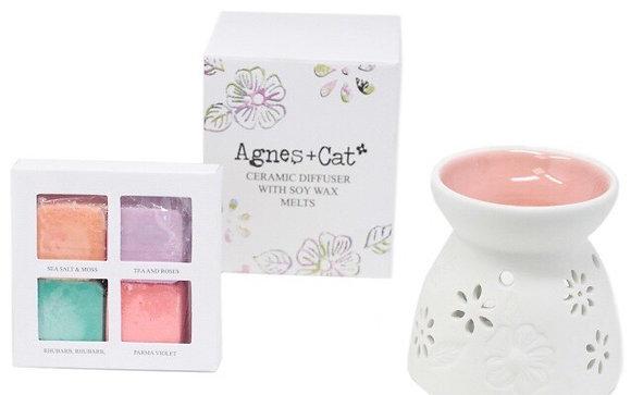 Agnes & Cat Ceramic Diffuser and Wax Melts