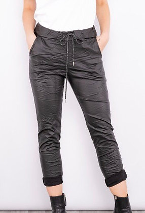Leather look super stretch trousers