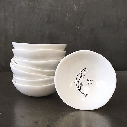 East of India Small Porcelain Bowl ' Love You'