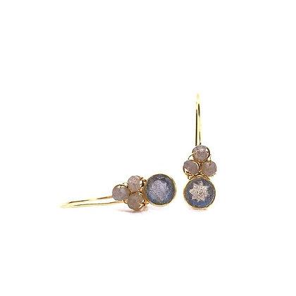 Gem Bazaar Blue Topaz and Aqua Chalcedony earrings