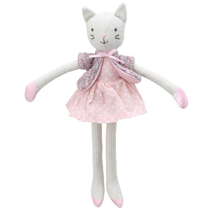 Wilberry Linen Cat in Pink Dress