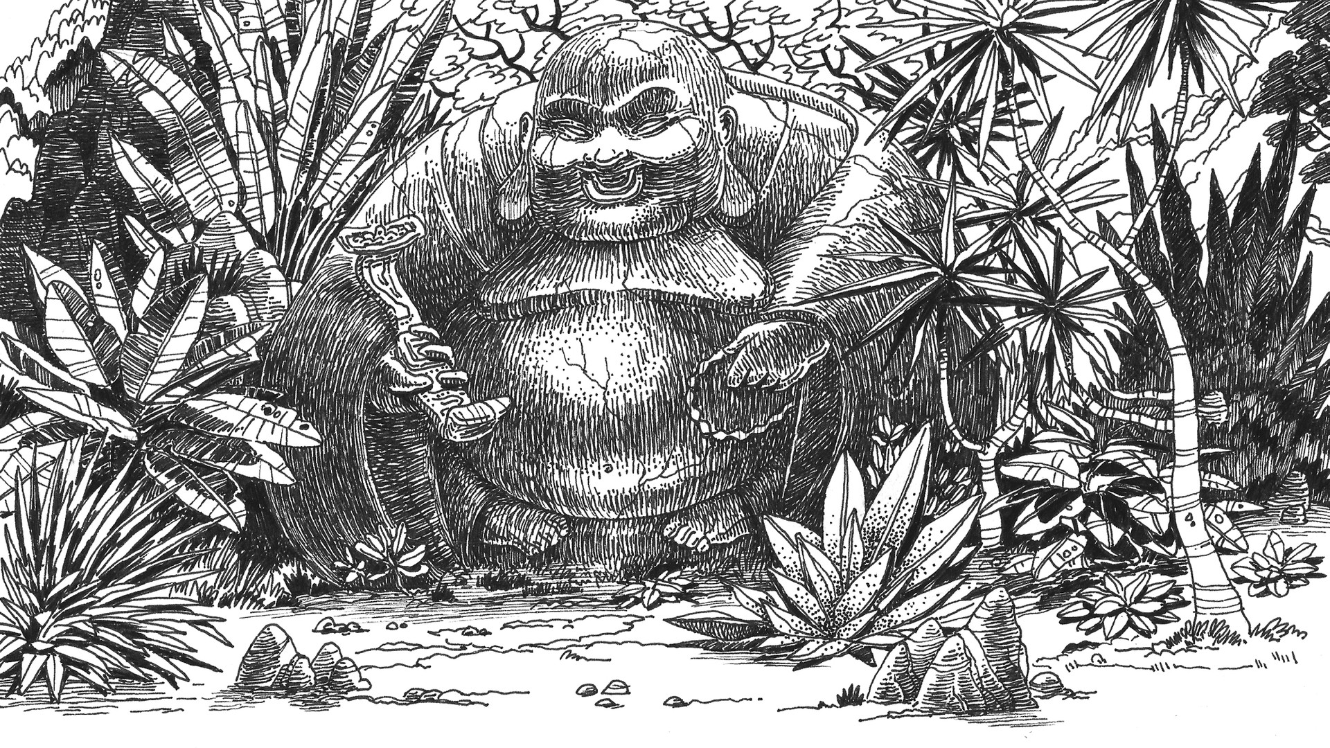 Ink Drawing - Thailand