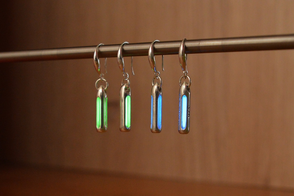 A pair of silver Tritium earrings; the perfect gift for that someone special!
