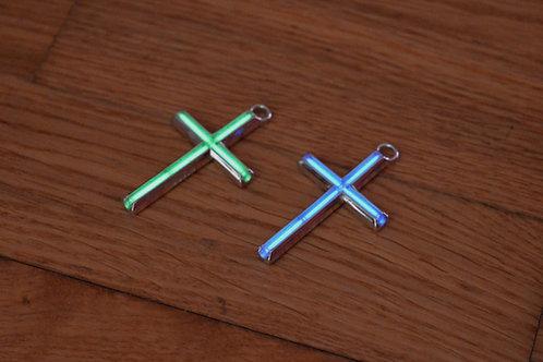 Large Tritium Cross Pendant - Silver Edition