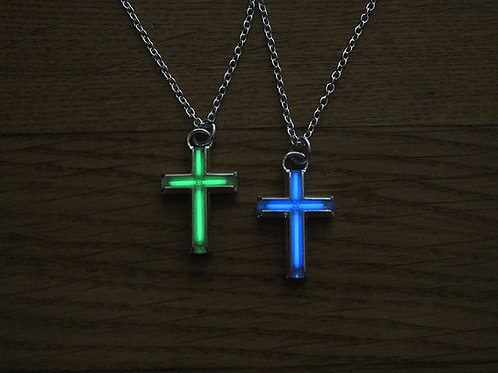 Small Tritium Cross Pendant - Silver Edition