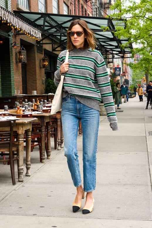 Alexa-Chung-Style-Striped-Sweater-Prada-Knit-Straight-Leg-Jeans-Denim-Cap-Toe-Heels-Cat-Eye-Sunglasses-Fall-Outfit-Idea-Le-Fashion-Blog