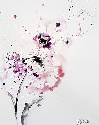 Dandellion flowers,  watercolor, textile designer for commission art