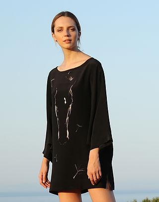 Like a dandelion, wearable art, silk dress, dolman sleeve