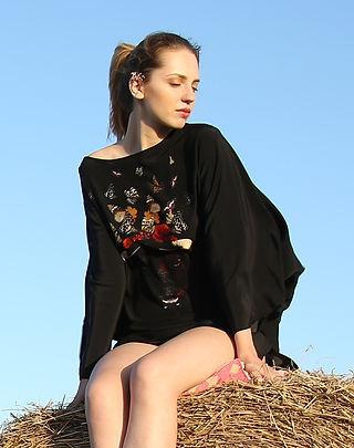 Delicate bull, wearable art, silk dress, dolman sleeve