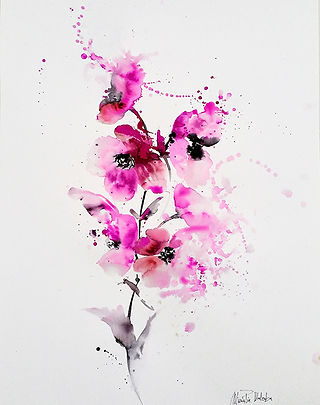 Pink flowers,  watercolor, textile designer for commission art